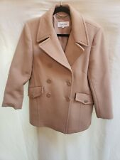 Calvin Klein Solid Beige 100% Wool Peacoat Jacket Coat Size 8 Double Breasted