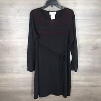 Motherhood Women's Size Large Maternity Dress Long Sleeve Black Burgundy NEW