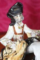 Famous Italian pottery Stelio Mola Porcelain  Sitting Man figurine 14 cm