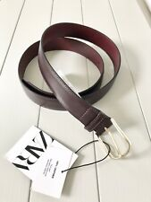 Gents Zara Burgundy Leather Top-stitching Belt UK38 BNWT MADE IN SPAIN LAST ONE