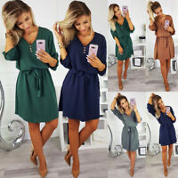 Latest Fashion V Neck Midi Dress 3/4 Sleeve Button With Plain Belted Shift Dress