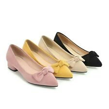 Womens Fashion Low Cuban Heel Suede Bow Slip On Casual Shoes Pointed Toe Pumps