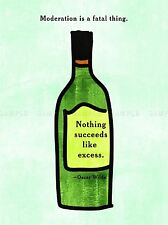 MODERATION FATAL SUCCEED EXCESS OSCAR WILDE QUOTE TYPOGRAPHY POSTER QU294A