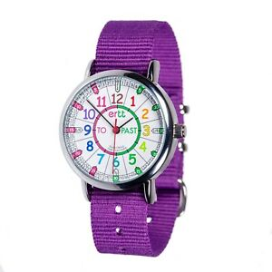 EasyRead Time Teacher Rainbow Face Past & To Watch - Purple Strap (ERW-COL-PT-P)