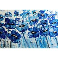 ABSTRACT BLUE FLOWERS White Large Canvas Original Painting Art by Luiza Vizoli