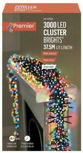 3000 LED Multi-Coloured Ultrabright Cluster Light with Timer, 47.2m