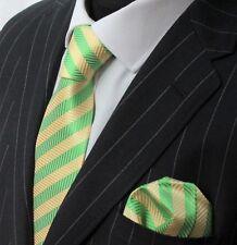 Tie Neck tie with Handkerchief Green & Yellow