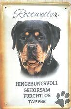 """Blech-Schild Outdoor 20 x 30 cm """" Rottweiler """" schwarz mit Bild und Charakter"""