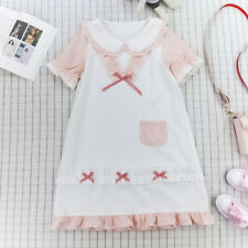 Japanese Sweet Bow Doll Collar Loose Lace Women Summer Lolita Short Sleeve Dress