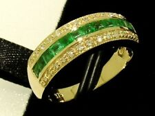 R167 Genuine 9ct Gold Natural  Emerald & DIAMOND Eternity Wedding Ring size N