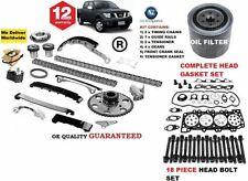 FOR NISSAN NAVARA D40 2006-> TIMING CHAIN KIT + GASKET SET & BOLTS + OIL FILTER