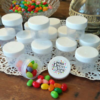24 Plastic Small Jars Container Candy  Parts Makeup 2 Tblsp Herbs K4304 DecoJars