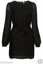 Topshop Premium Black Silk Velvet Lurex Stripe Belted Vtg Shift Dress 8 36 US4