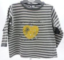 SERGENT MAJOR tee-shirt à manche longue gris rayé chat bébé fille 6 mois