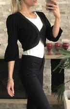 ❤️❤️ Womens Black Cropped Cardigan Jacket Size S 3/4 Sleeves EUC FREE POST ❤️❤️