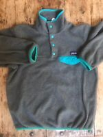 Womens Gray Patagonia Synchilla Fleece Pullover Snap Jacket Hiking XS