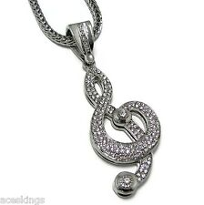 Musical Note Music Iced-Out Pendant Teble Clef Silver Tone Franco Hip Hop Chain