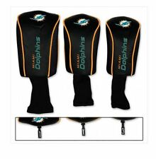 MIAMI DOLPHINS 3PC GOLF HEADCOVER SET NEW LOGO GR8 FOR FATHERS DAY/ BDAYS & XMAS