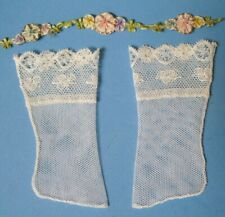 "Antiq. Cotton Needle Lace Doll Stockings ~High Ankle~ Two inch long foot (2"")"