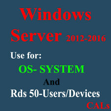 Windows server 2016 and 2012, Os and Remote desktop call 50 users or Devices Cal