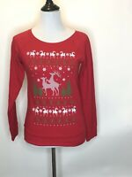 Womens Spencers Naughty Reindeer Ugly Christmas Party Sweater Shirt Red Size M