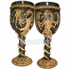 DRAGON REMAINS SKELETON GOTHIC WICCAN OCCULT HALLOWEEN GOBLET CHALICE GLASS