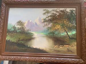 Original Oil on Canvas Manila Mountain Lake Landscape Signed Painting 1970