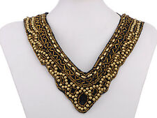 Fashion Tribal and Ethnic Golden Beads Deep V-Cut Statement Bib New Necklace New