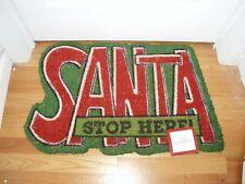 """SANTA STOP HERE HOLIDAY Coir Door Mat 18"""" X 28"""" NEW"""