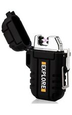 Plasma Lighter Waterproof Windproof Electronic Dual Arc|Black  -  Fast Delivery