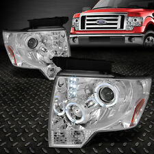 [LED HALO RING]FOR 09-14 FORD F150 CHROME/AMBER CORNER PROJECTOR HEADLIGHT LAMPS