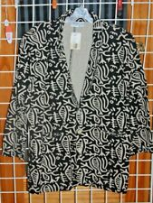 SIZE 2X CHICO'S DESIGN FISHBONE BLACK AND TAN JACKET