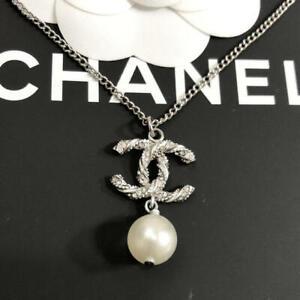 CHANEL Pendant Necklace CC Logo Silver twist Rhinestone B15V 282
