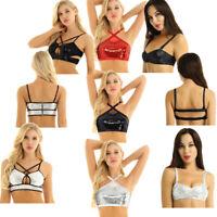 Women Sparkly Sequins Tank Top Bustier Bra Dance Costume Crop Top Bralette Club
