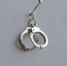 Esposas las restricciones de la policía 3d encanto plata esterlina 925 2 Piezas