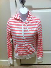 TNA ARITZIA Terry Hoodie Zippered Jacket Pink And White Stripes NWT Small S