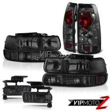 Bumper Headlights Brake Tail Lamps Black Tinted Foglamp 99-02 Silverado 2500HD
