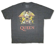 Queen-Freddie Mercury -Winged Crest-Large Charcoal Heather Tri-Blend T-shirt
