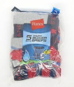 Hanes Boys Boxer Briefs Mixed 5 Pair Boys Sz Small (6-8) NEW Tagless