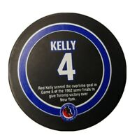 RED KELLY STANLEY CUP STATS HOF PUCK RARE NHL OFFICIAL TORONTO MAPLE LEAFS