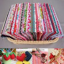 100Pcs 12x10cm DIY Assorted Pre Cut Cotton Fabric Quilt Doll Cloth Craft Sewing