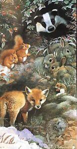 CHRISTMAS CARD ~ WOODLAND CREATURES ~ FOX ~ BADGER ~ RABBITS ~ SINGLE CARD