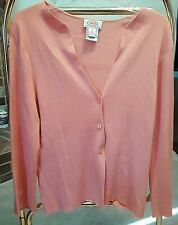 Talbots Petites Light Button Up long-Sleeve Cotton Sweater Size M / Peach