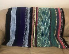 """Vtg Crochet Afghan/Throw Multicolor Striped Rectangular 116""""x49"""" Handmade"""