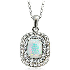 925 Silver Lab Created Opal with Blue & White Topaz Oval Necklace, 18""
