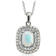 925er Silber Künstlicher Opal Weiß Blau & Weiß Topas Oval Halskette, 45.7cm