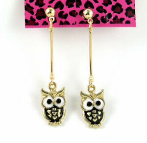 New Betsey Johnson owl Golden Ball Ear Stud Dangle Long Drop Earrings