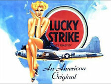 Lucky Strike Cigarettes, Pin-up Girl B-17 WW2 US Aircraft, Medium Metal/Tin Sign