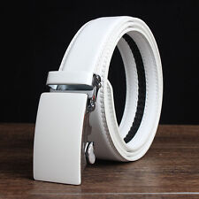 Fashion Men's Solid White Automatic Buckle Waistband Leather Belt Waist Strap