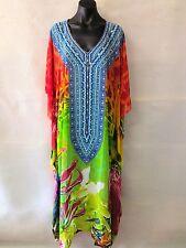 Bright Long Sheer Embellished Kaftan Tunic Digital Printed Size 16-18-20-22-24